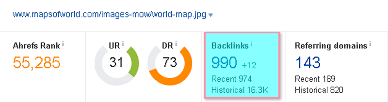 map has gained 990 backlinks