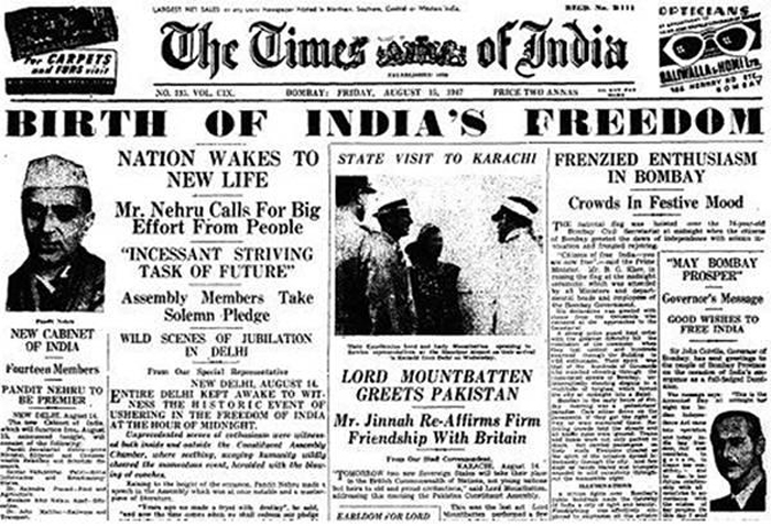 August 15, 1947 – The newspaper stating the freedom of India