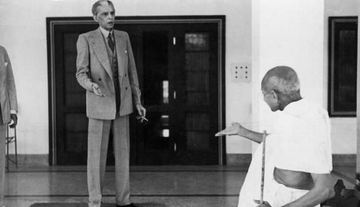 Gandhi and Jinnah in a heated conversation