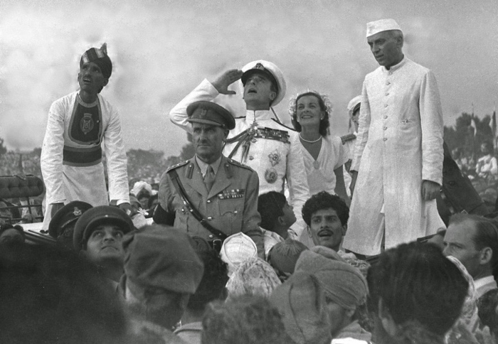 Lord Mountbatten, the last Viceroy of India salutes the Indian National Flag