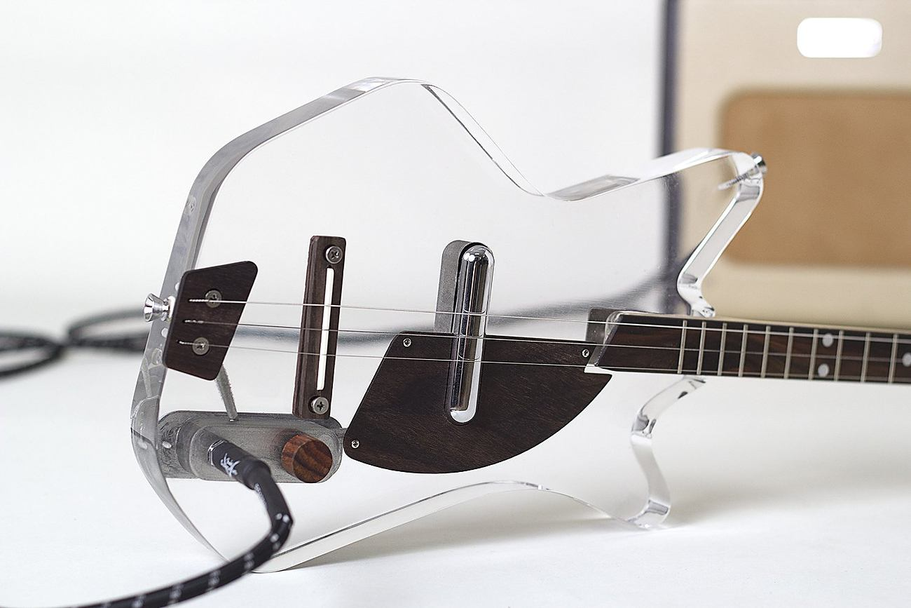 Lucite 3-String Electric Guitar_musical instruments