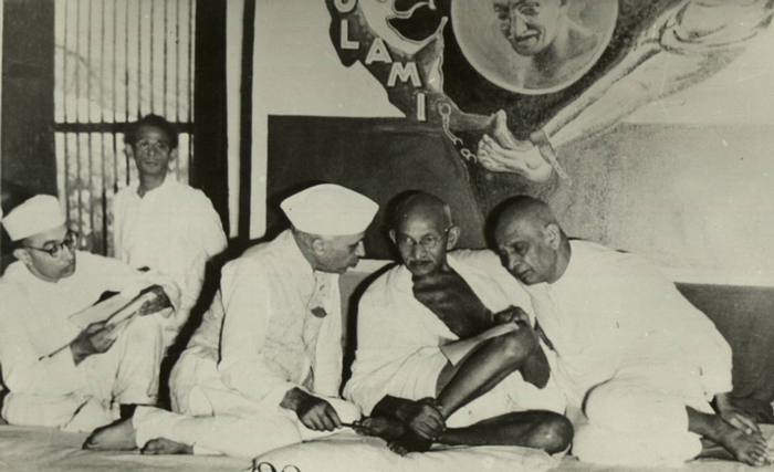 Mahatma Gandhi with Jawaharlal Nehru and Sardar Vallabhbhai Patel