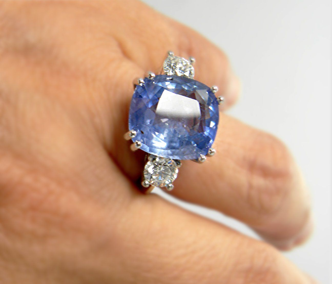 14K White Gold 4.34 CTW Sapphire and Diamond Ring