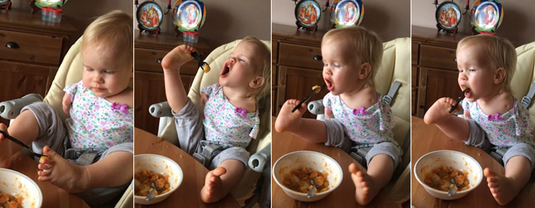 Incredible Moment! A Toddler Born With No Arms Feeds Herself Using Just Her FEET