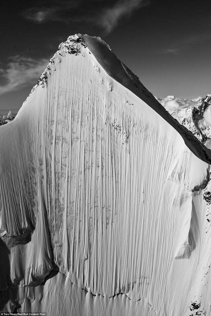 Can You Spot The Skier? The Extreme Sportsman Took To The Slopes While Filming An Adrenaline Pumping Video For Red Bull