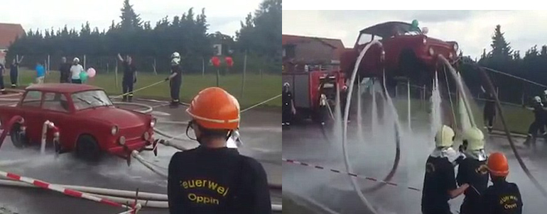 Firemen Lifting Germans Made Trabant Car Fly With Water