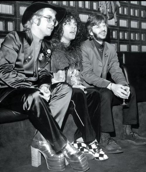 Elton John, Marc Bolan And Ringo Starr