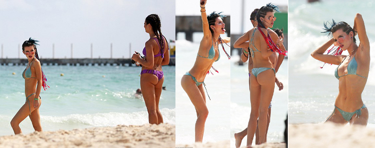 Bella Thorne Cavorts On The Beach In Tiny String Bikini During Cancun Getaway