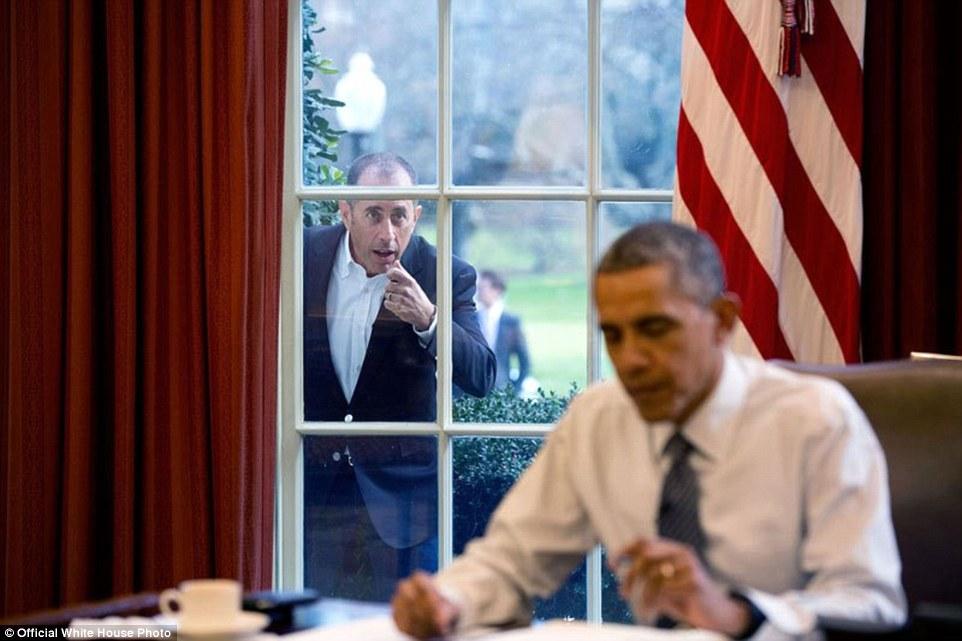 Comedian Jerry Seinfeld Knocks On The Oval Office Window
