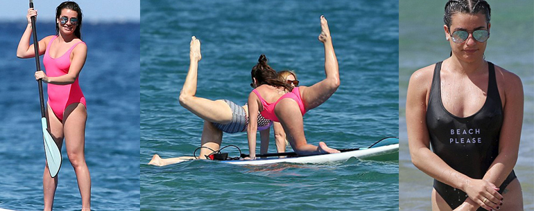 Lea Michele Doing Practice Yoga On A Paddleboard In Hawaii Vacation