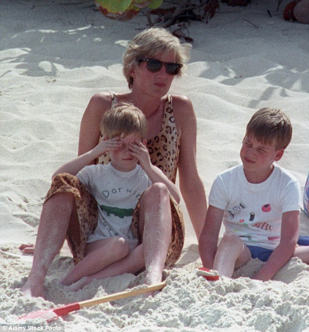 Princess Diana, visited the island with sons Harry and William, centre, in 1990