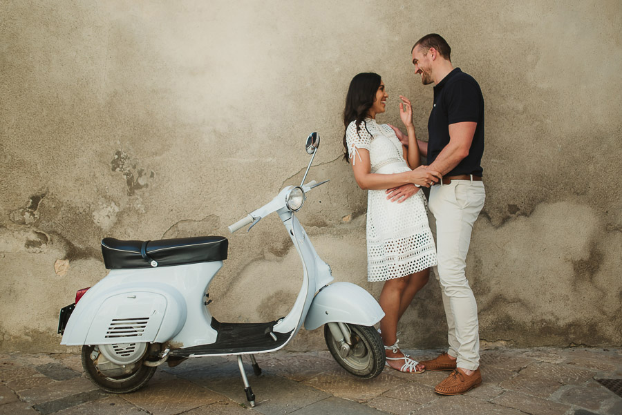 Wedding proposal inspiration portrait with Piaggio Vespa in Ital