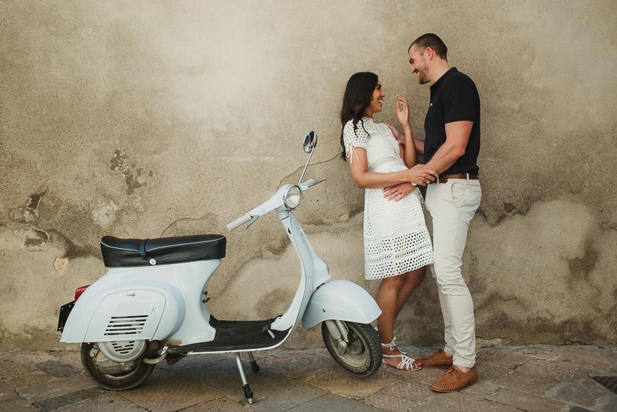 Wedding proposal inspiration portrait with Piaggio Vespa in Ital