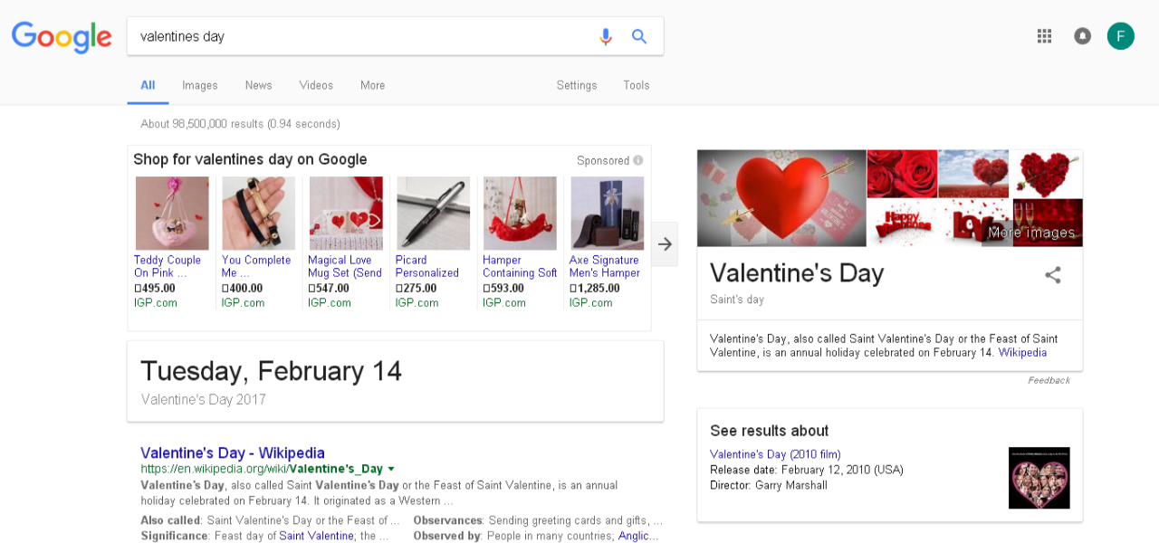 Valentine Day Google Results