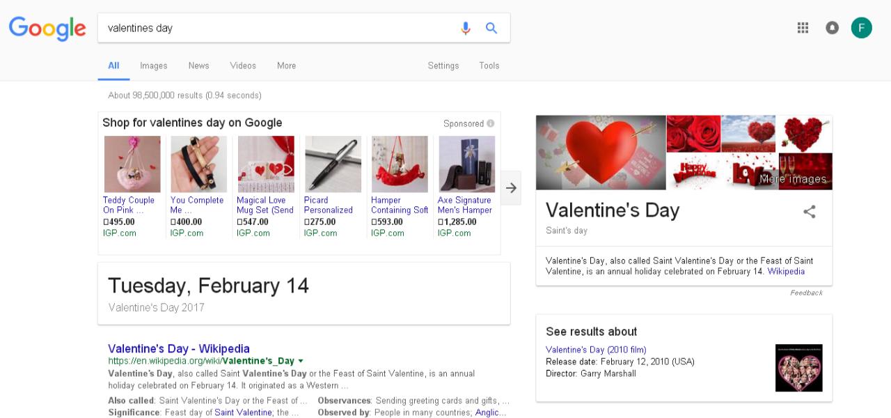 Valentine Day Google Results