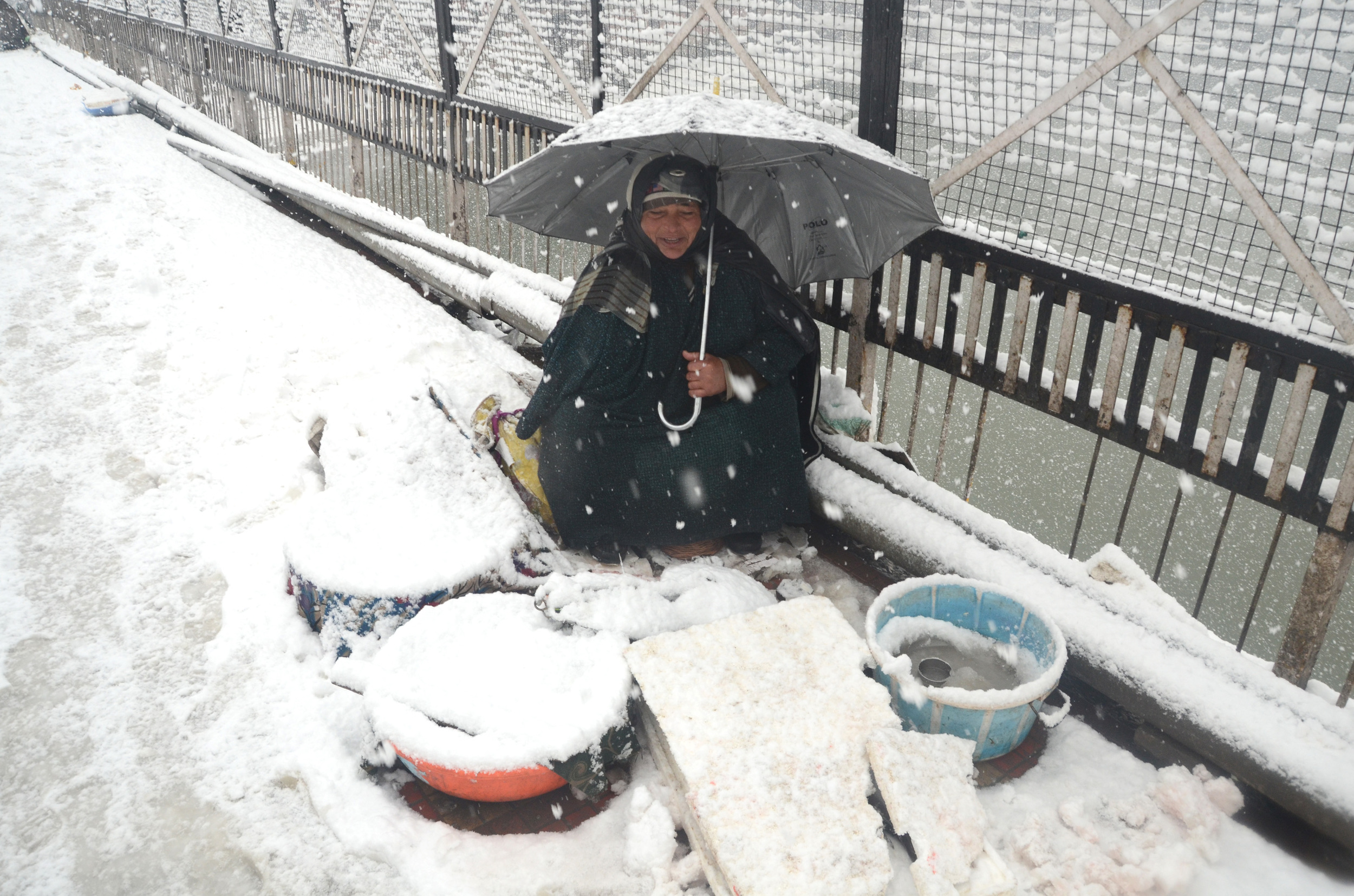 A Fisherwoman Waits For Customers