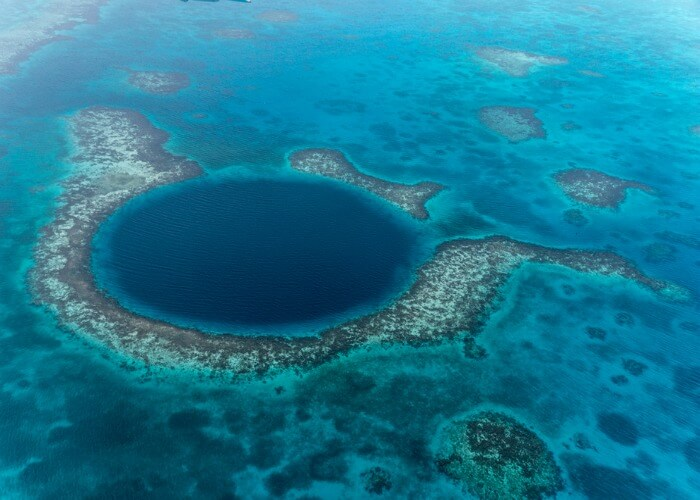 Indeterminable depth of the great blue hole in Belize