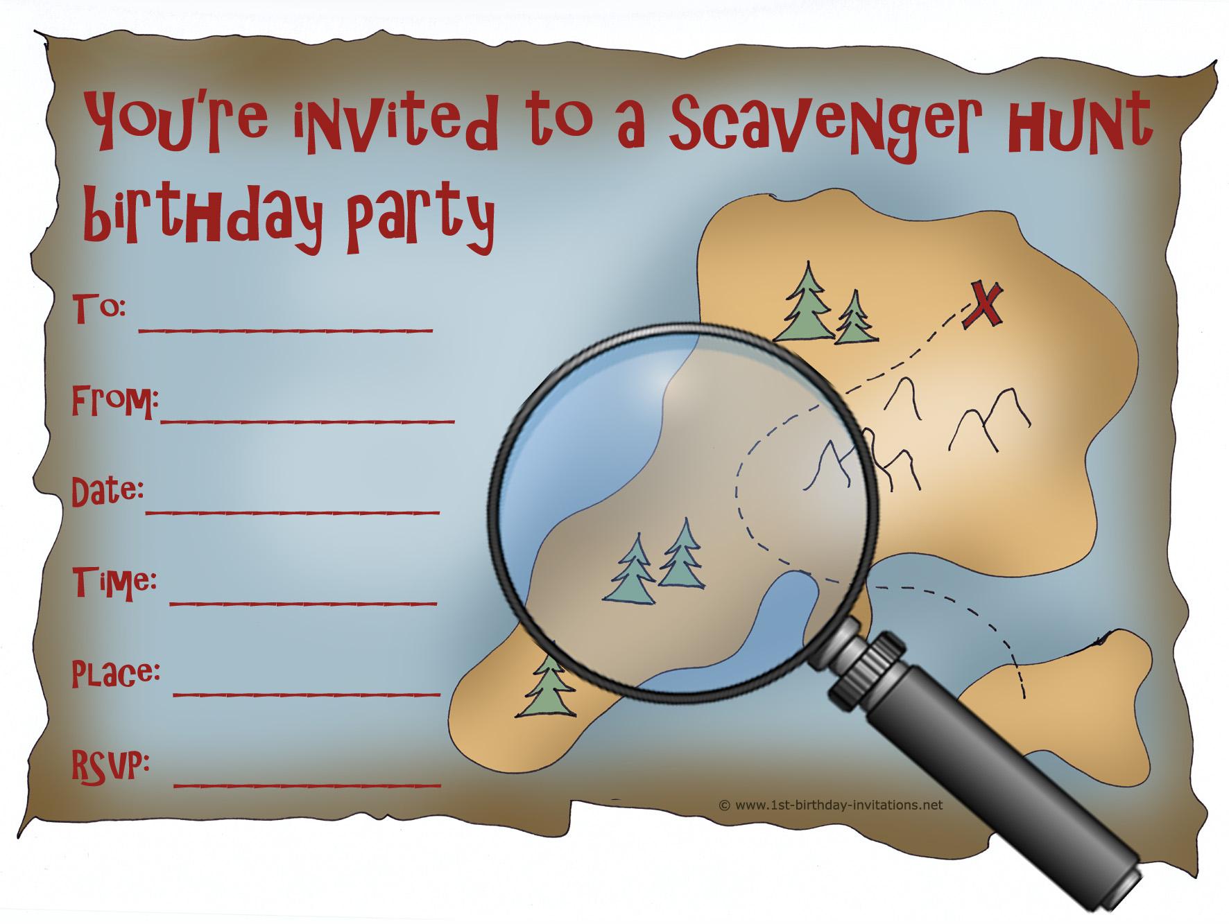 Scavenger Hunt Invites