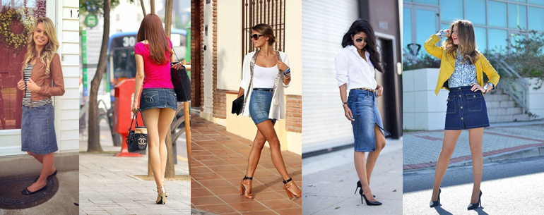 Long And Short Denim Skirt Outfits For Girls