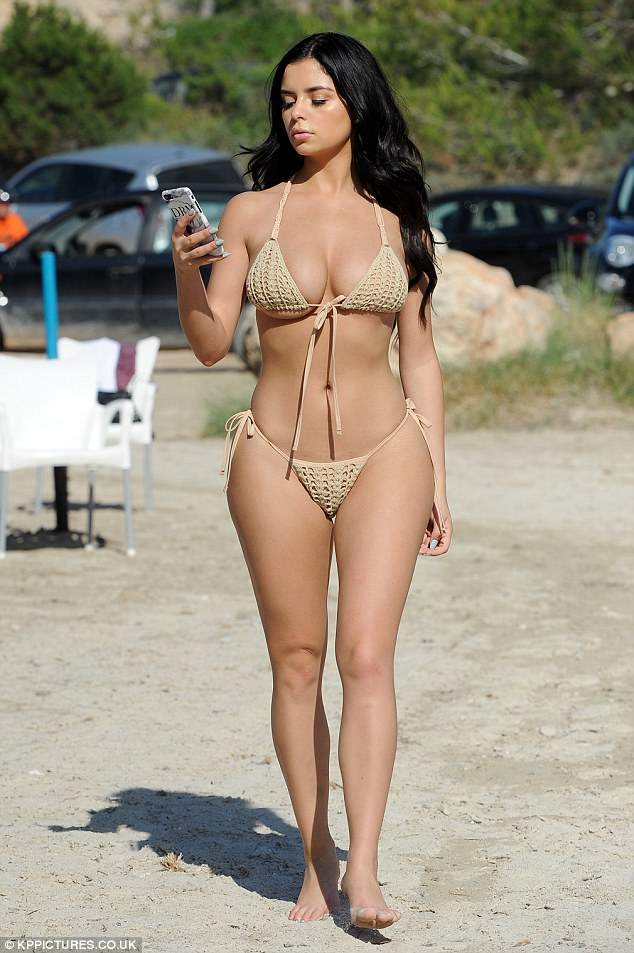 Demi Rose Flaunts Her Eye Popping Cleavage And Curvaceous Derriere In A Tiny Nude Bikini
