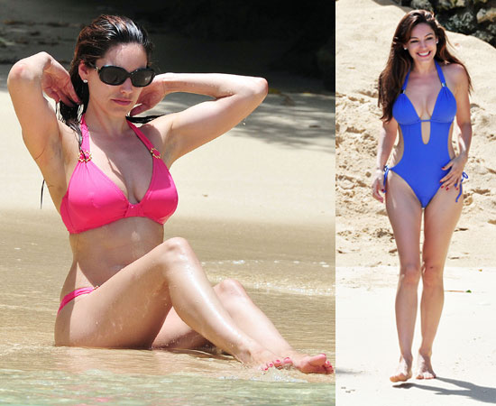 British Star Kelly Brook Shows Off Her Famous Curves In Hot Bikinis