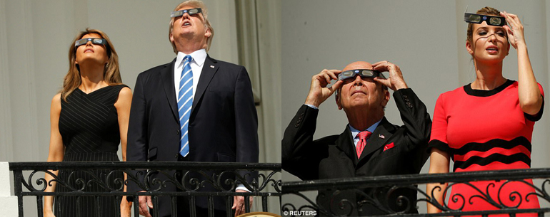President Trump Family On The White House Balcony Join The Millions Watching Eclipse