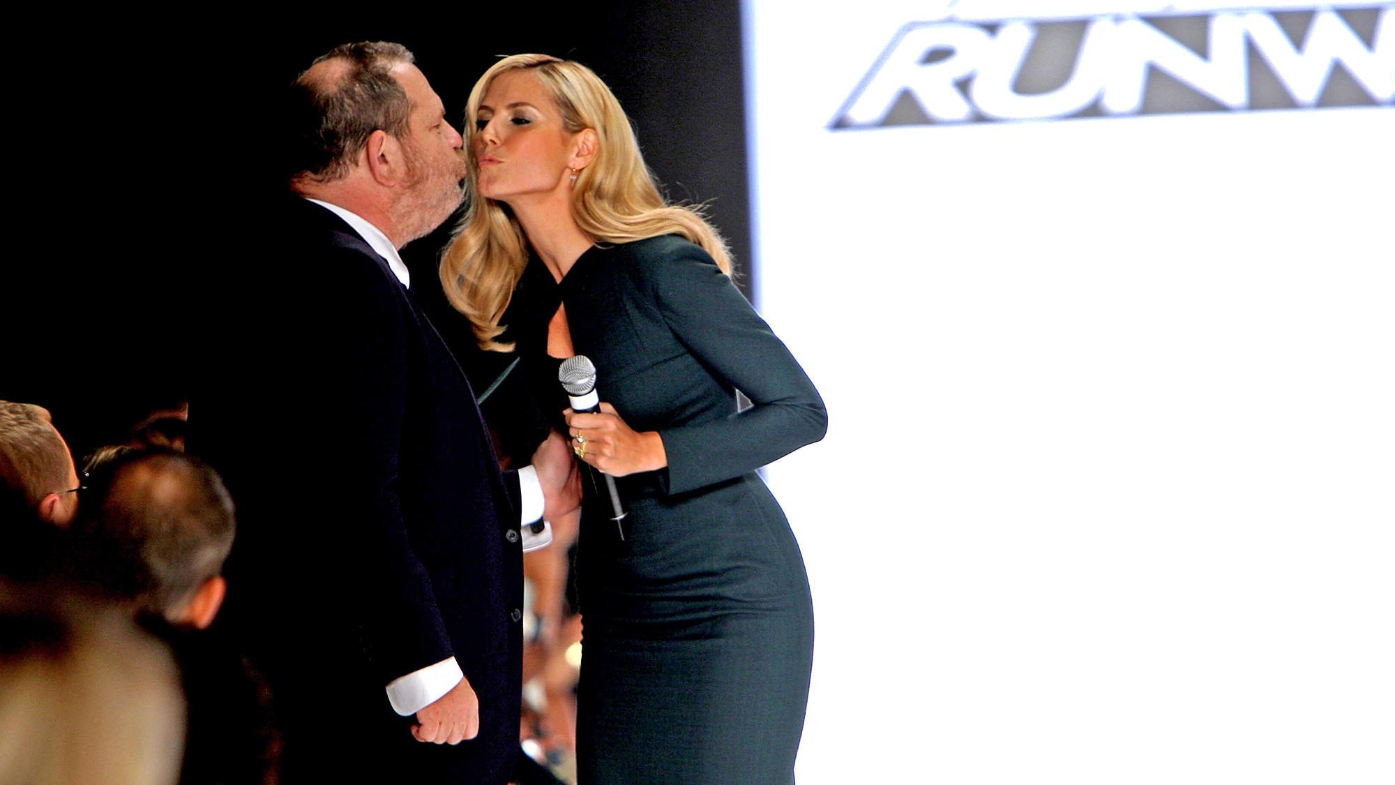 Harvey Weinstein and Heidi Klum kiss