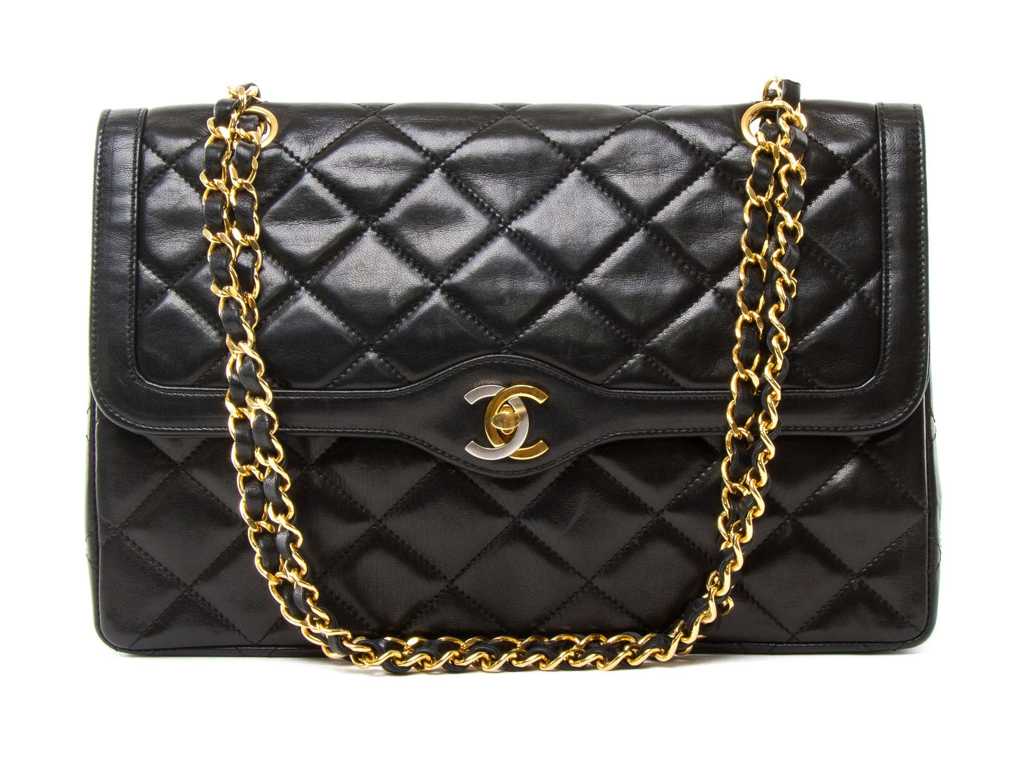 Chanel Black Leather Chain Shoulder Bag