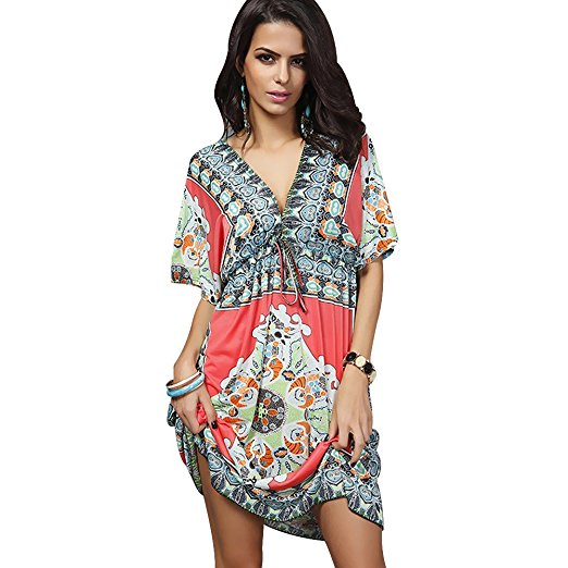 96565c4e2ae Oryer Womens V-neck Swimwear Cover-up Bathing Suit Beach Dress Loose Cover  Ups