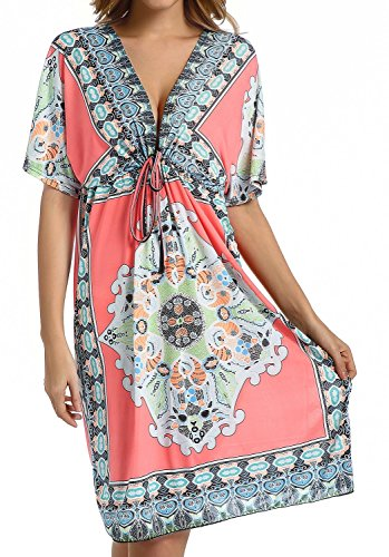 48d062ae51 CHERRY CAT Womens V-neck Cut Loose Bathing Suit Swimsuit Cover Ups Beach  Dress. CHERRY CAT is guided by a desire for founding fabulous retro and  everlasting ...