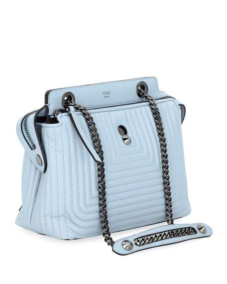 Fendi women's leather cross-body messenger shoulder bag dotcom click blue