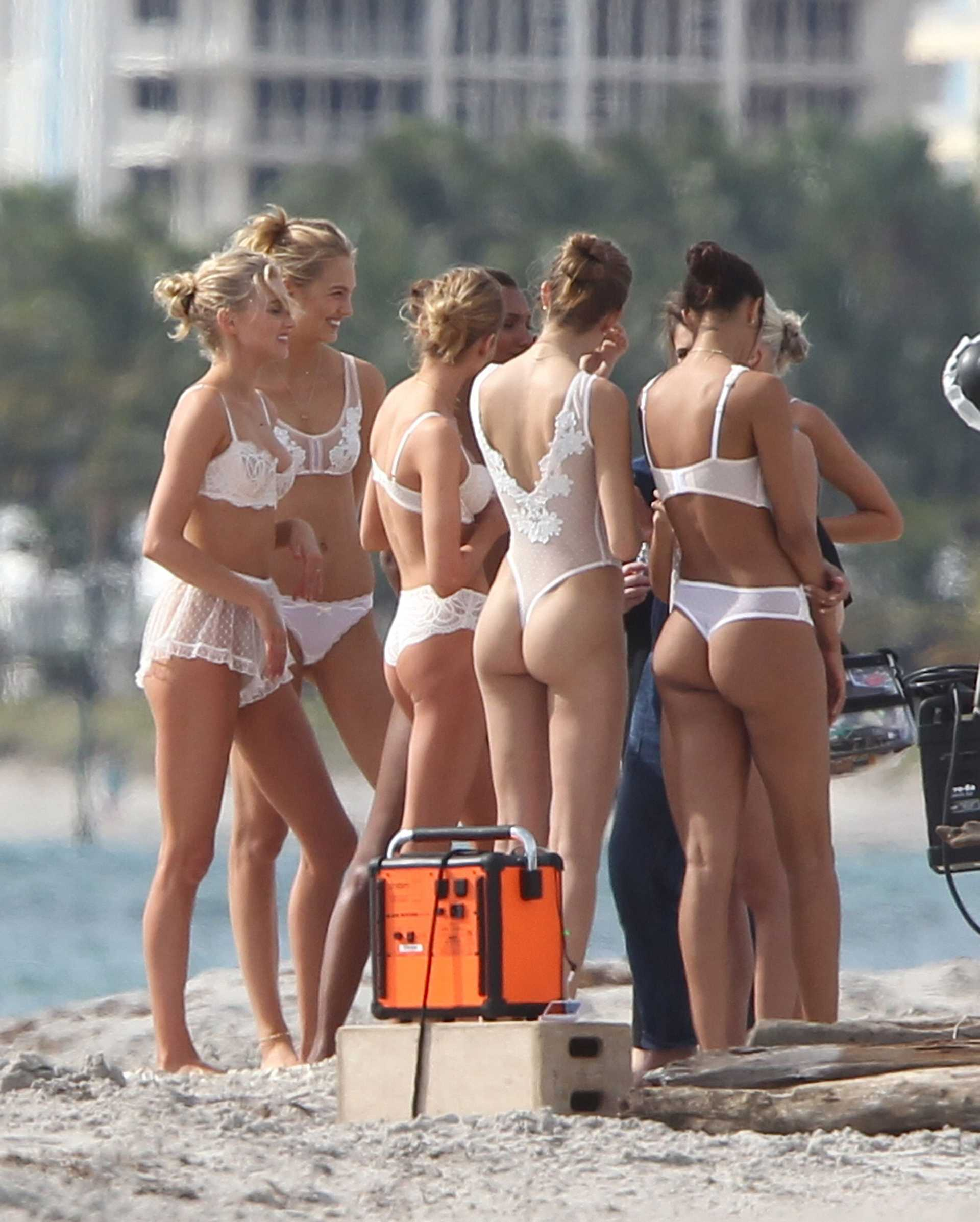 Elsa Hosk Shooting a Commercial in Miami