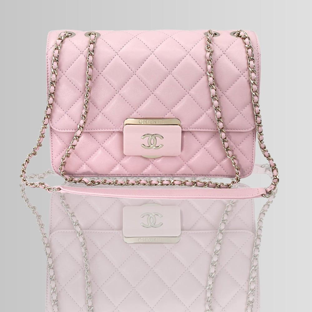 Chanel Pink Sheepskin Leather Chain shoulder Flap bag