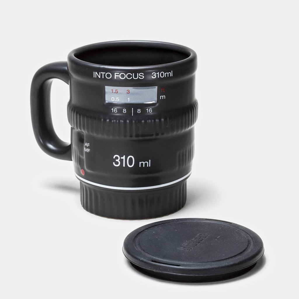 A Travel Sized Coffee Mug Features Incredible Detailing To Look Just Like A Camera  Lens.