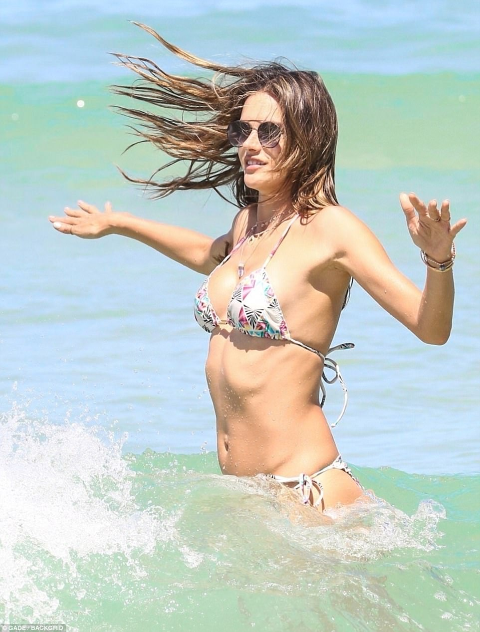 Alessandra Ambrosio In A Skimpy Patterned Bikini