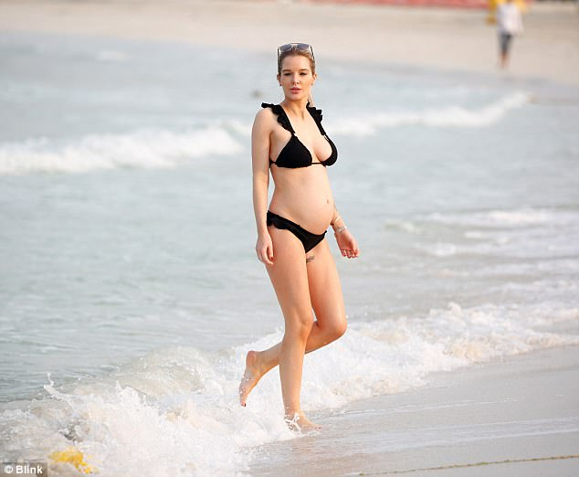 Pregnant Helen Flanagan Displays Her Baby Bump In Frill Detailed Bikini