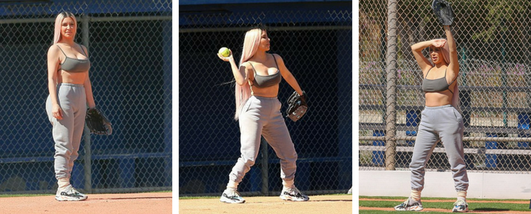Kim Kardashian Wears Daring Sports Bra For Softball Game