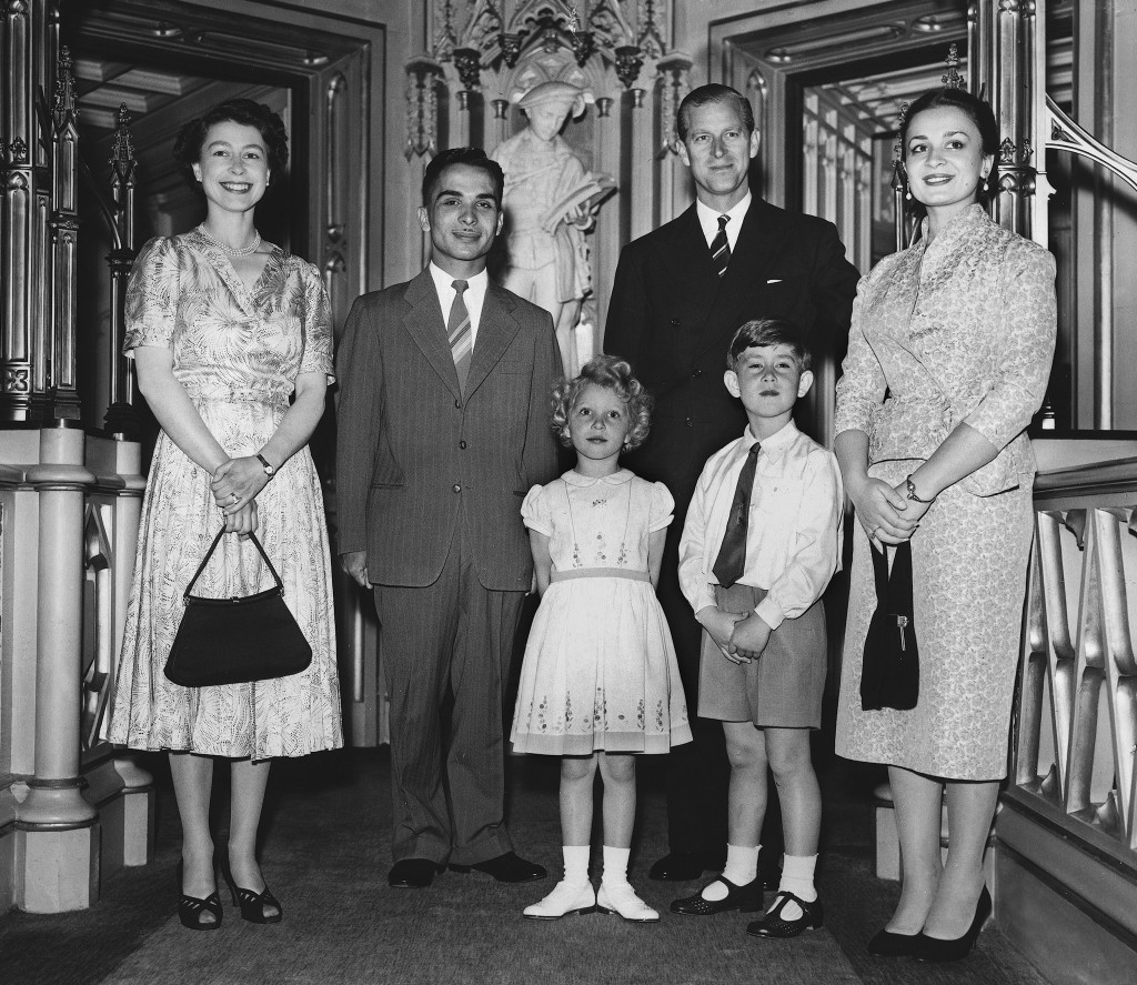 King Hussein of Jordan (2nd L) ans his wife Queen