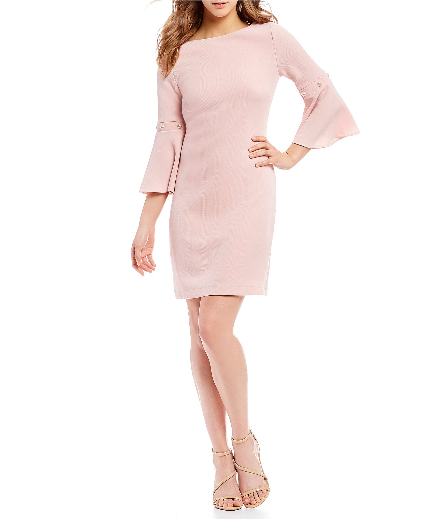 Ivanka Trump Women's Textured Knit Bell Long Sleeve Pearl Detail Shift Dress