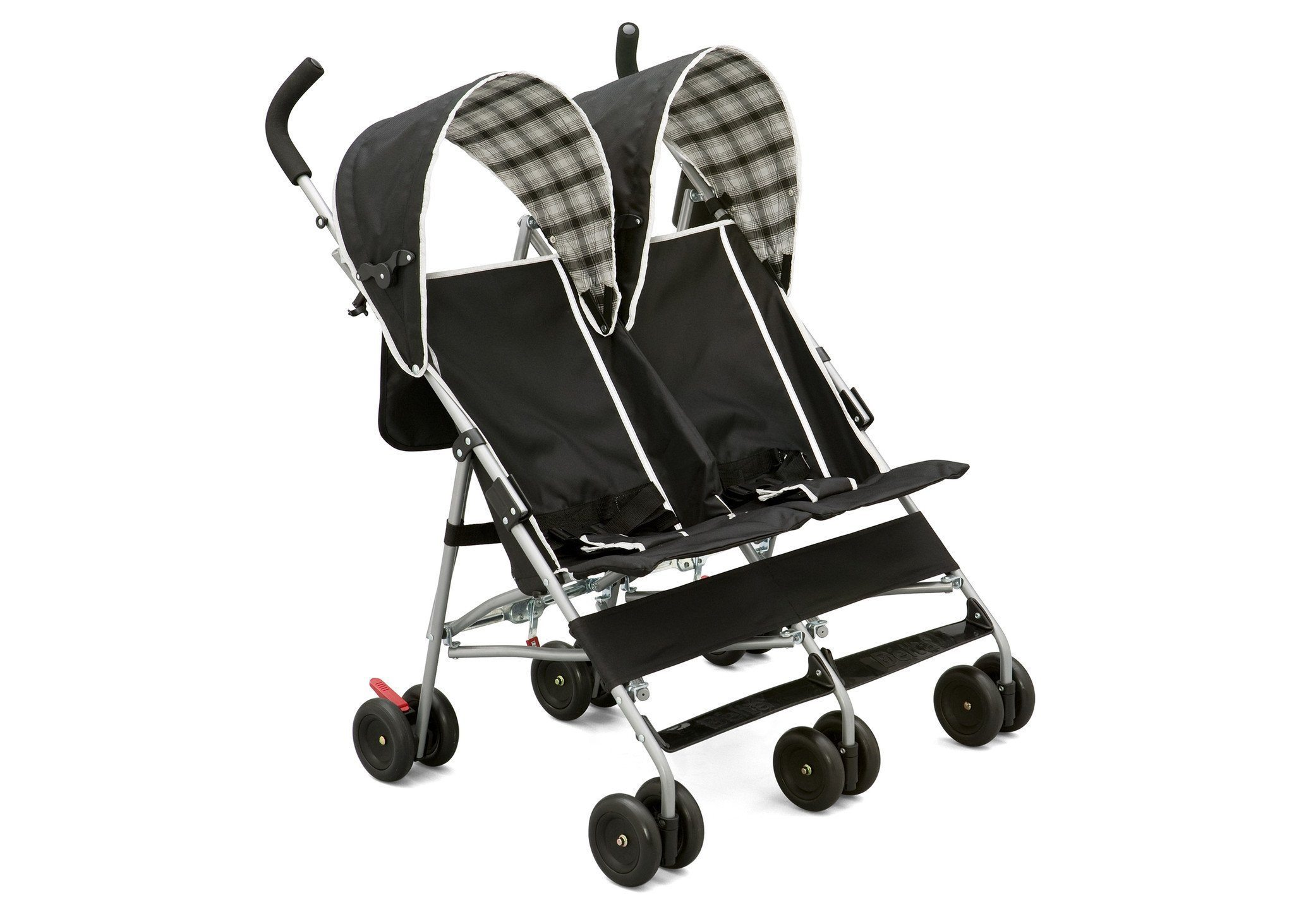 side-by-side-stroller-black-plaid-right