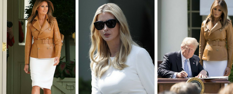 Ivanka Trump Stunning Ladylike Look In Bell-Sleeve Top Will Surely Win Your Heart! Melania Trump Flaunts $6,000 Leather Trench!