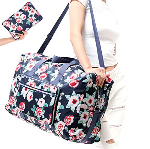 WFLB Travel Duffel Bag Foldable Floral Large Travel Bag