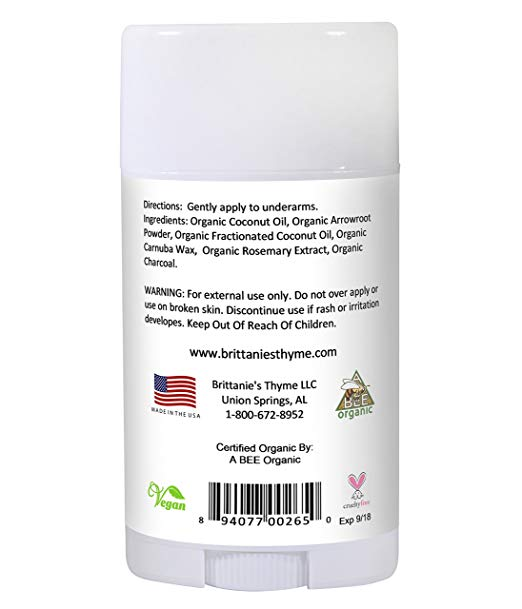 Organic Charcoal Deodorant - The Only USDA Certified Organic, Certified Gluten Free, Vegan,