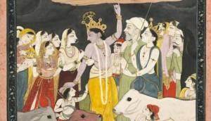 A 17th century Kangra (part of Pahari school) painting depicting Krishna lifting Mt Govardhana