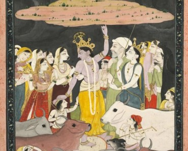 A 17th century Kangra (part of Pahari school) painting depicting Krishna lifting Mt Govardhana