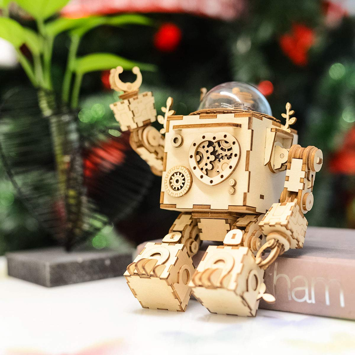 Eggschale 3D Puzzle Music Box Kit DIY Wooden Robot Musical Box Orpheus with LED Light Best Gifts for Kids and Adults/Boys and Girls Birthday Halloween Christmas