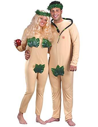 Fun World Unisex-Adults Adam and Eve Couples Eden Costume, Beige, Standard