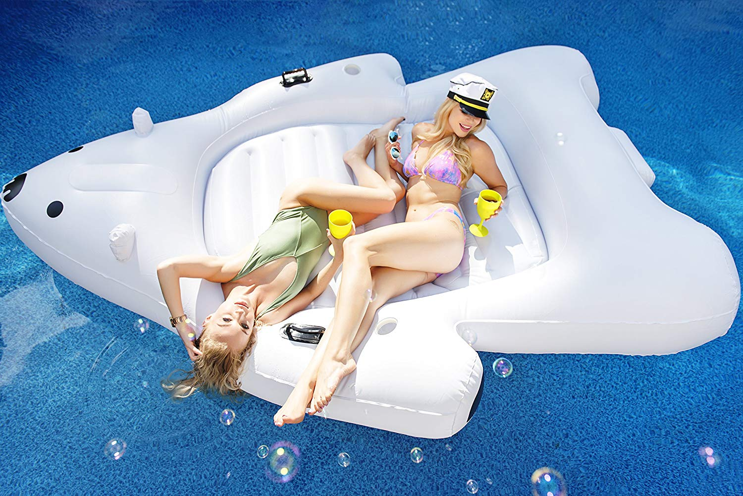 Giant Polar Bear Pool Float | Swim Lounger | Floating Island Raft with Cupholders by Captain Floaty