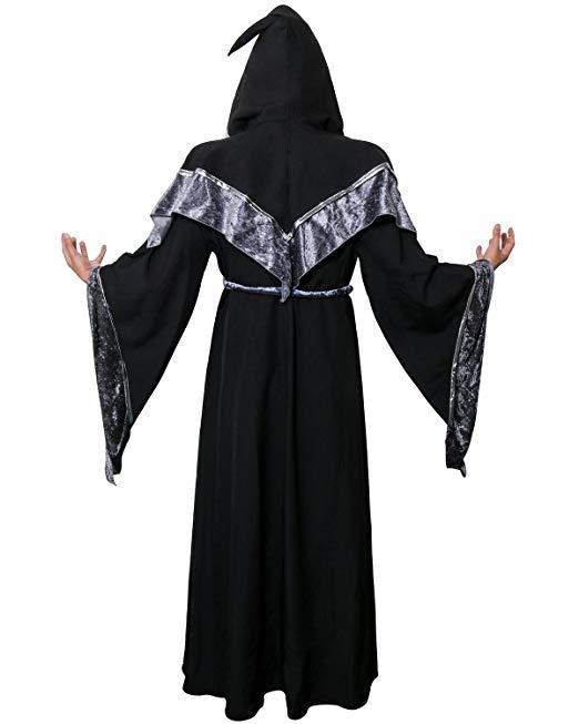 JUDE Adult Men's Dark Mystic Sorcerer Robe Halloween Cosplay Costume with Hooded Cape