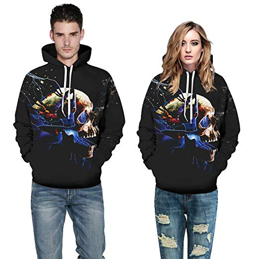 POTO Halloween Sweatshirt,Mens Womens Ghost 3D Printing Hoodie Sweatshirts Jumper Hooded Pullover Tops Blouse Shirt